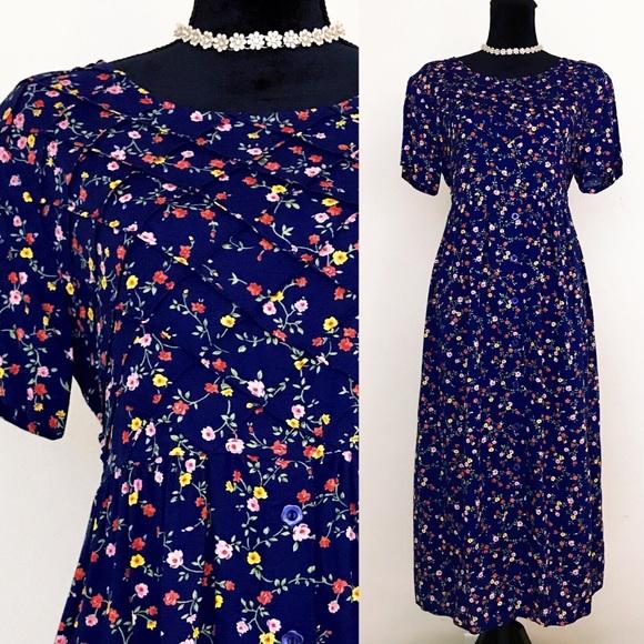 b14ed57ef7a2 Erika Petite Vintage 90s Blue Floral Print Dress. M_5aa5ae55f9e50193b493f43e